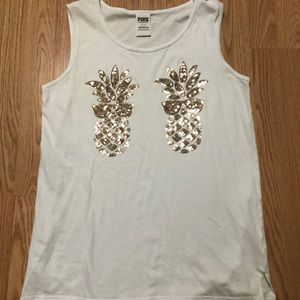 Victoria's Secret Pink pineapple Bling tank Small